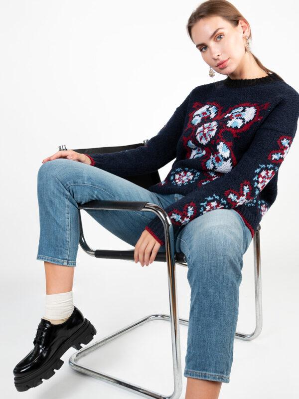Boucle-Jacquard-Pullover CREW BOY von La DoubleJ